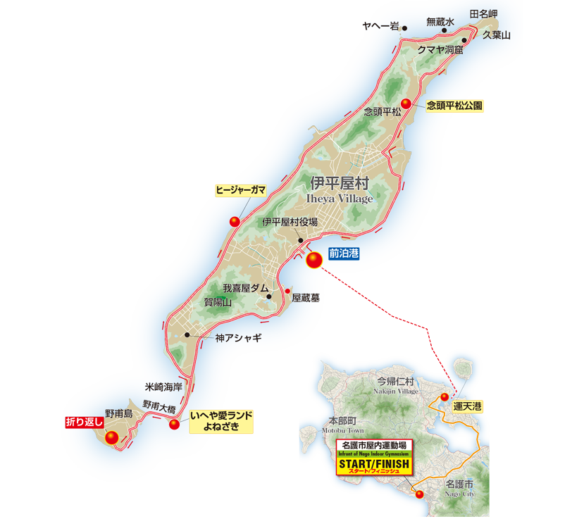 Cycling map to iheya island