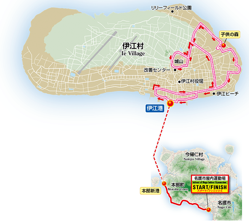 Ie Island Family Cycling Course map